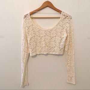 Mossimo crochet crop top long sleeve large